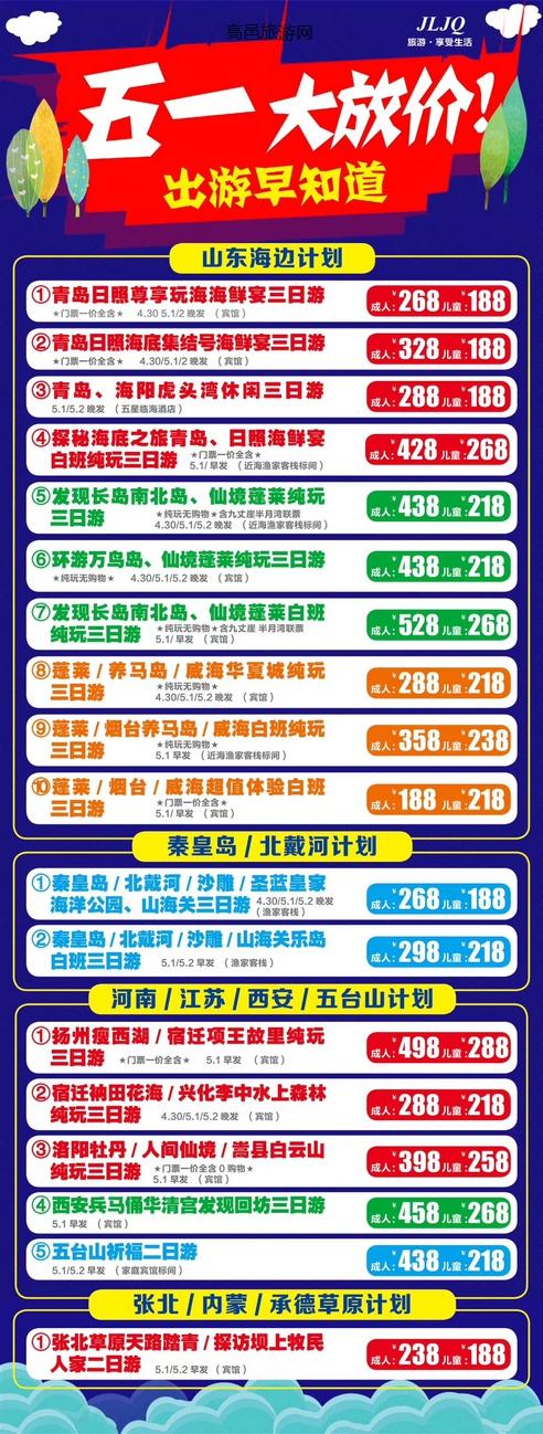 【五一线路推荐】山东方向2-3日游低至1